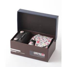 花柄ネクタイ メンズ スーツ ギフト箱4点セット (ピンク)