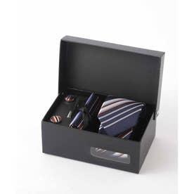 メンズ スーツ ギフト箱4点セット レジメンタル ストライプ (マルチ)