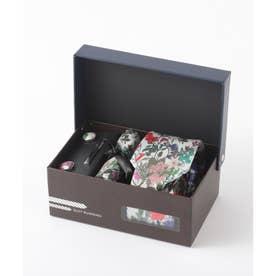 花柄ネクタイ メンズ スーツ ギフト箱4点セット (マルチ)