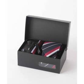 メンズ スーツ ギフト箱4点セット レジメンタル ストライプ (ダークネイビー)