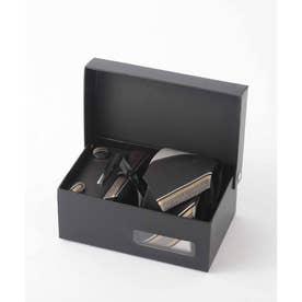 メンズ スーツ ギフト箱4点セット レジメンタル ストライプ (ブラック×シルバー)