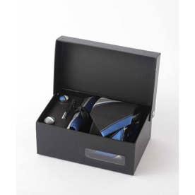 メンズ スーツ ギフト箱4点セット レジメンタル ストライプ (ブラック×ブルー)
