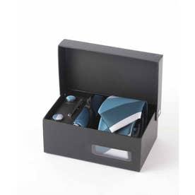 メンズ スーツ ギフト箱4点セット レジメンタル ストライプ (ブルー)