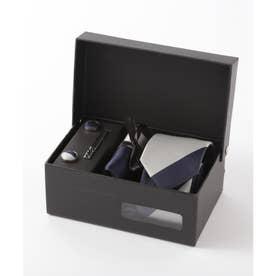 メンズ スーツ ギフト箱4点セット レジメンタルストライプ (ブルー)