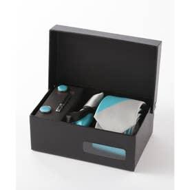 メンズ スーツ ギフト箱4点セット レジメンタルストライプ (ライトブルー)