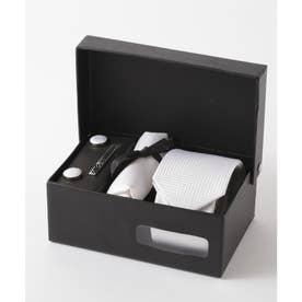 ヘリンボーン シルク編みネクタイ メンズ スーツ ギフト箱4点セット (ホワイト)