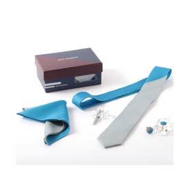 ツートンカラー メンズ スーツ ギフト箱4点セット (ブルー)