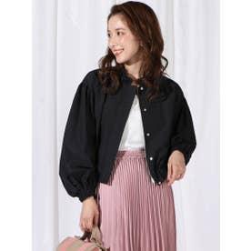 パフ袖襟フリルブルゾン (ブラック)
