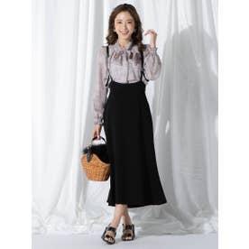 【大きいサイズ】合皮サスペンダー付きAラインスカート (ブラック)
