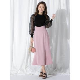 【大きいサイズ】合皮サスペンダー付きAラインスカート (ピンク)