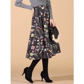 【大きいサイズ】フラワープリントスカート (ブラック)