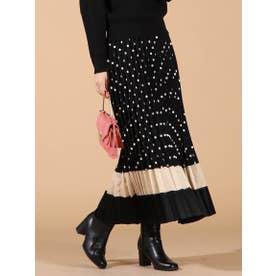 【WEB別注】ドットプリント配色切替スカート (ブラック)