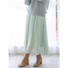 リボン付グロッシースカート (グリーン)