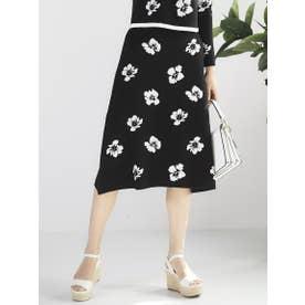 【大きいサイズ】フラワージャガードスカート (ブラック)