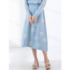 【大きいサイズ】フラワージャガードスカート (ブルー)
