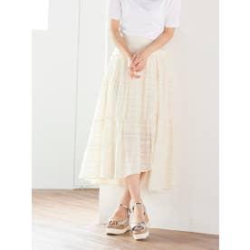 【大きいサイズ】シルクジャガードスカート (オフホワイト)