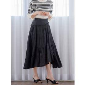 【大きいサイズ】シルクジャガードスカート (ブラック)