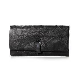 プリーツソフト牛革長財布 (ブラック)