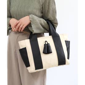 牛革×帆布 タッセルトートバッグ (アイボリー)