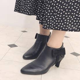 【高機能】リボンディテールショートブーツ (ブラック)