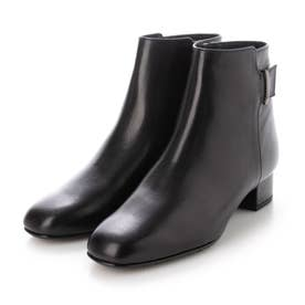 【3E】スクエアトゥショートブーツ (ブラック)