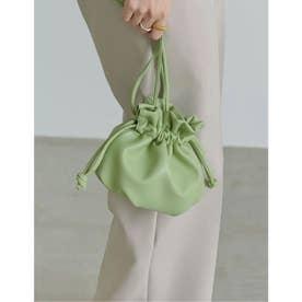 [2021 SUMMER COLLECTION]ヴィーガンレザー巾着バッグ (グリーン)