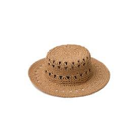 透かし編みカンカン帽 (ベージュ)