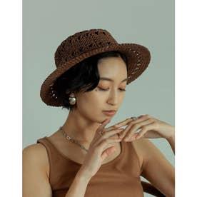 透かし編みカンカン帽 (ブラウン)