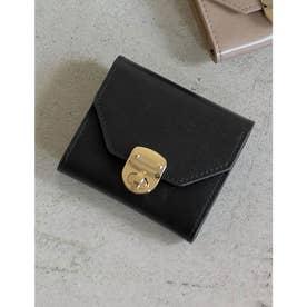 クロスボックスコイン三つ折財布 (ブラック)