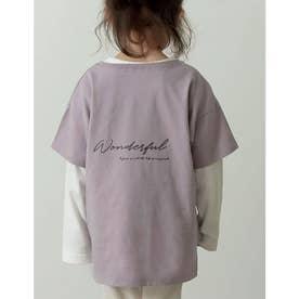 [ユニセックス/親子ペア/キッズサイズ/I.W.U(アイダブリュー)]USAコットンバックロゴ半袖Tシャツ (ピンク)