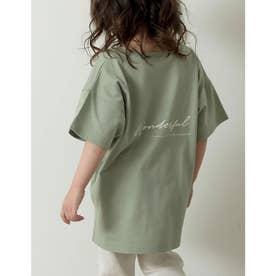 [ユニセックス/親子ペア/キッズサイズ/I.W.U(アイダブリュー)]USAコットンバックロゴ半袖Tシャツ (グリーン)
