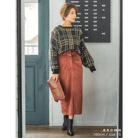 レオパード柄or無地ベロアタイトスカート ブラウン
