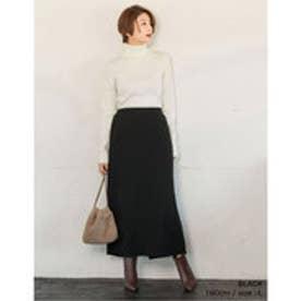 リブニットソーロングセミタイトスカート ブラック