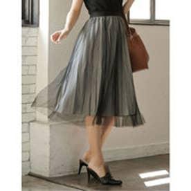 レイヤード風チュールプリーツスカート ブラック