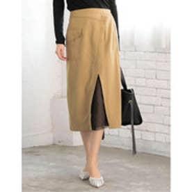 チュールレイヤードラップ風ツイルスカート ベージュ