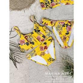 [L.A.セレクト]marinawestキッズサイズ花柄フリルビキニ イエロー