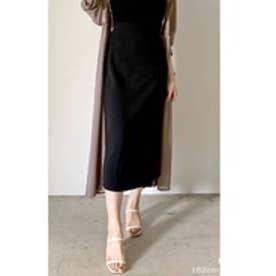 カットジョーゼットラップ風セミタイトスカート (ブラック)