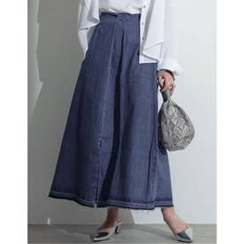 [お家で洗える][低身長向けSサイズ対応]タックデザインフロントスリットナロースカート (ブルー)