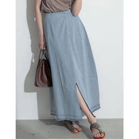 [お家で洗える][低身長向けSサイズ対応]タックデザインフロントスリットナロースカート (ライトブルー)