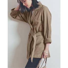 [涼感][お家で洗える]リネンブレンドボタンベルト付きジャケット (モカ)