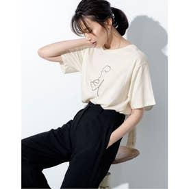 [UVカット][抗菌防臭加工][お家で洗える]クルーネックニュアンスフェイスプリントTシャツ (ライトベージュ)