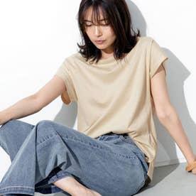 [UVカット][抗菌防臭加工][お家で洗える]フレンチスリーブコットンTシャツ (ライトベージュ)