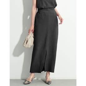 [お家で洗える][低身長向けSサイズ対応]センタースリットストレッチタイトスカート (ブラック)