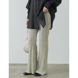 [低身長向け/高身長向けサイズ対応]裏地付きグロッシーサテンランダムプリーツキックフレアパンツ (アイボリー)