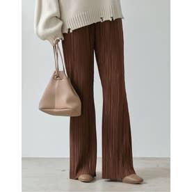 [低身長向け/高身長向けサイズ対応]裏地付きグロッシーサテンランダムプリーツキックフレアパンツ (ブラウン)
