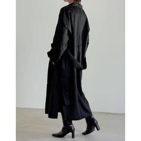 [近藤千尋さん着用][低身長向けSサイズ対応]ダブルフェイス軽量ガウンコート (ブラック)