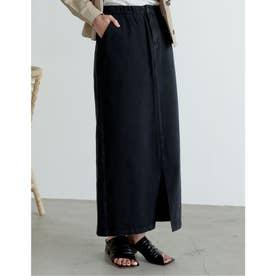 [低身長サイズ有]カラーツイルスリットIラインスカート (ブラック)