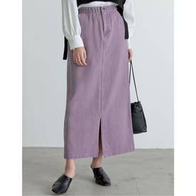 [低身長サイズ有]カラーツイルスリットIラインスカート (ラベンダー)