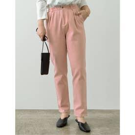 [低身長/高身長サイズ有]カラーツイルタックテーパードパンツ (ピンク)
