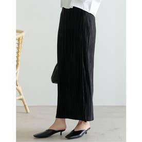 [低身長サイズ有]グロッシーサテンプリーツIラインスカート (ブラック)